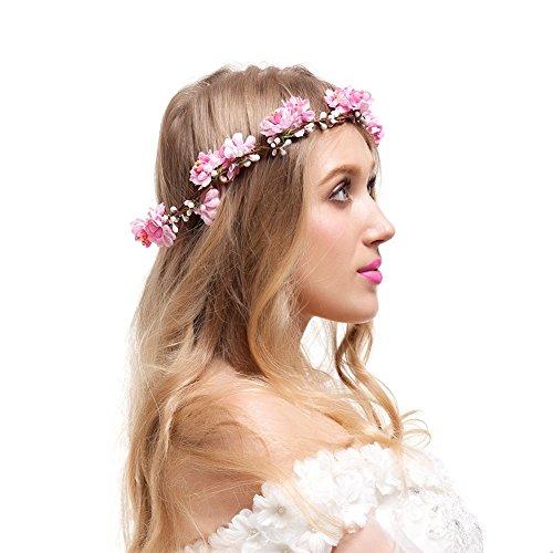 Valdler Adjustable Cherry Blossom Flower Crown for Wedding Festival Prom Pink (Blossom Crown)