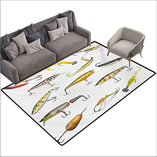 Bath Rug 3D Digital Printing pad Fishing Fishing Tackle Bait for Spearing Trapping Catching Aquatic Animals Molluscs Design Personality W78 xL118 Multicolor