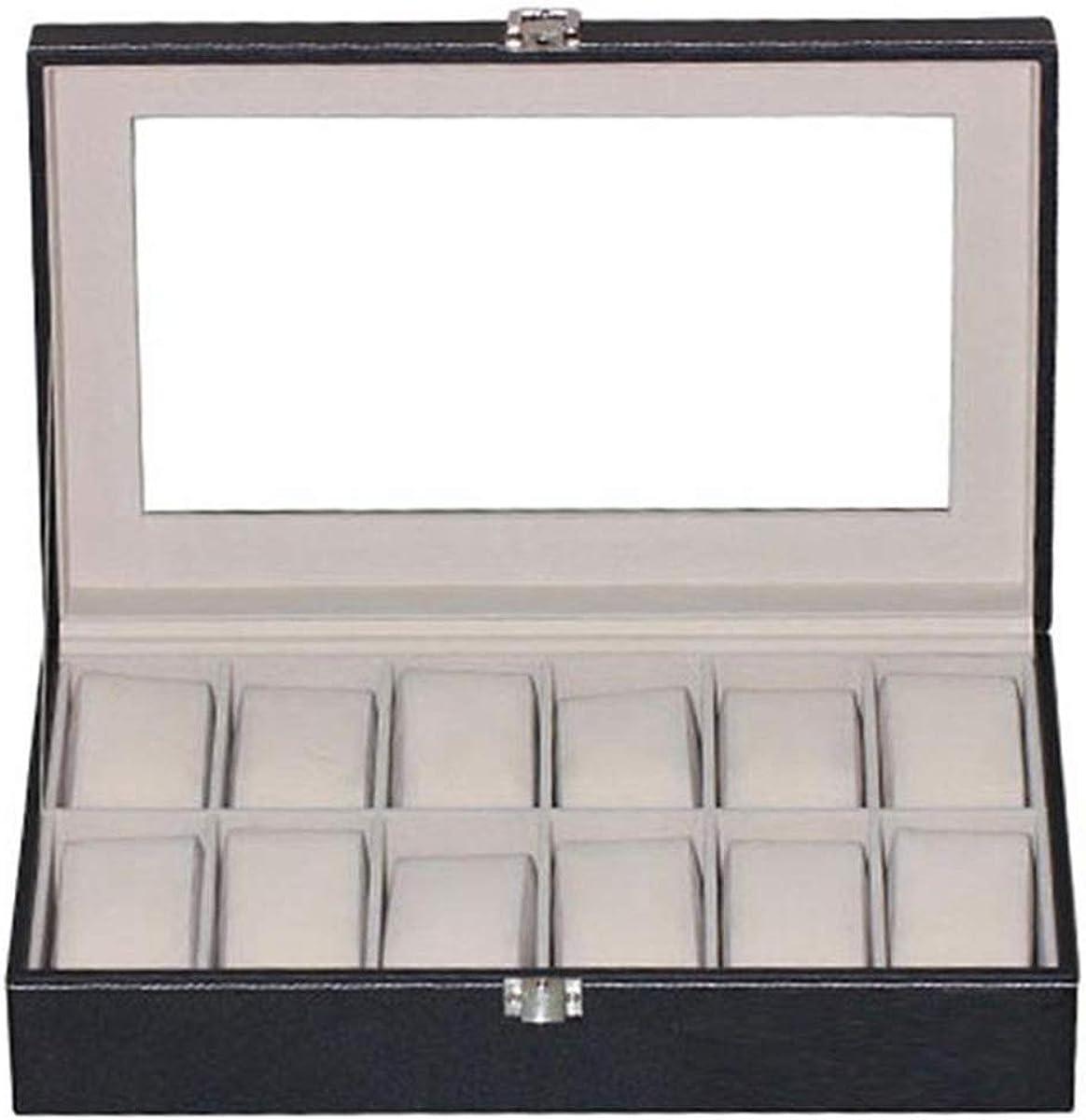 12 griglie Scatole per orologi in cuoio nero Scatola portaoggetti Scatola portagioie con anello per gioielli Scatola per orologio 6 Slots