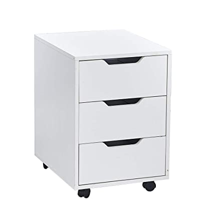 Wondrous White Wood Mobile File Cabinet With 3 Storage Drawers Under Desk Unit Filing Pedestal Movable Cabinet With Wheels For Office Home Furniture For Small Download Free Architecture Designs Embacsunscenecom
