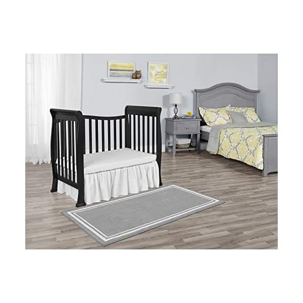 Evolur Home Nursery Rug 55'x31.5″ in Dove Grey with White Border