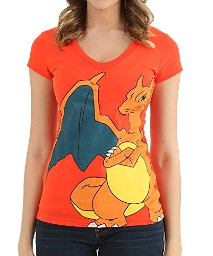 Pokemon Charizard Juniors Orange V-Neck T-Shirt (M)