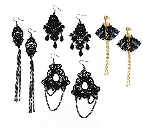 Honbay 4 Pairs Vintage Black Hollow Out Lace Tassels Chandelier Dangle Earrings (Dangle Lace)