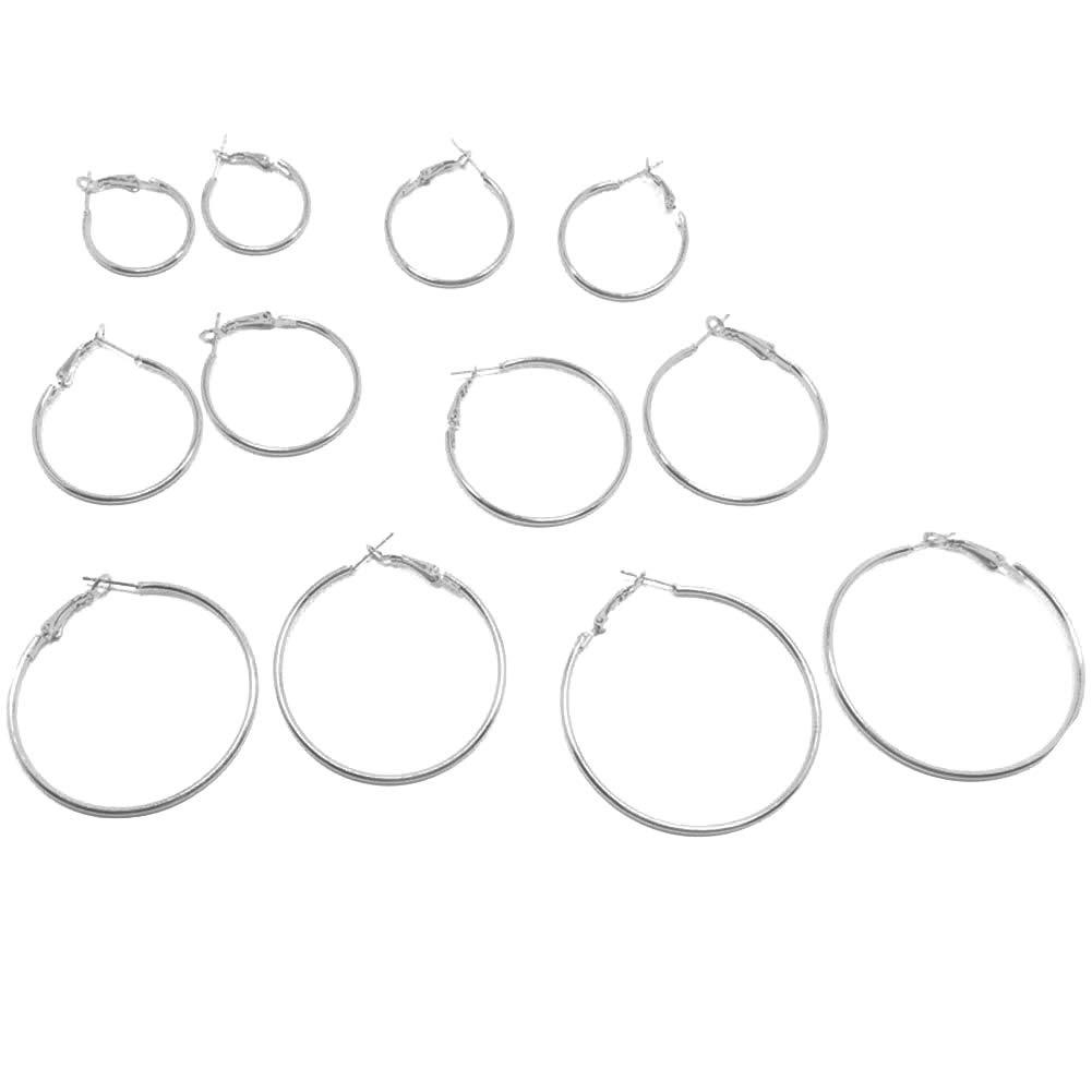 6 Pairs Women Alloy Circle Hoop Earrings Designed Eardrop Jewelry Gift - Silver SoundsBeauty