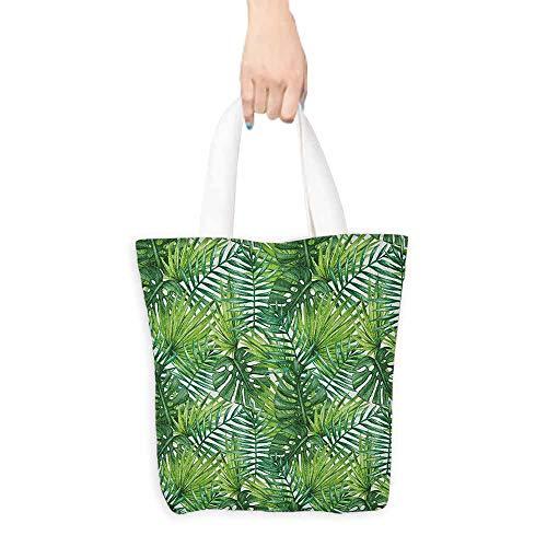 (Handbag or crossbody messenger bag Leaf Tropical Exotic Banana Forest Palm Tree Leaves Watercolor Design Image Washable tote 16.5