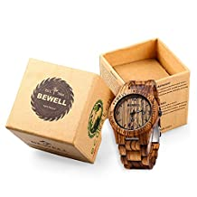RoseGal Waterproof Male Wooden Quartz Analog Bamboo Watch with Date Display Wrist Watch for Men with a Cube Gift Box by Bewell ZS - W086B(Zebra Wood)