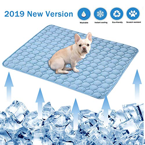 aingycy Dog Self Cooling Mat Pad Non Toxic Ice Silk Mat Sleep Cushion for Dogs Cats (22IN28IN)