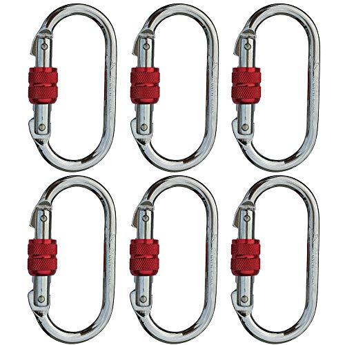 CARAPEAK 25kN Heavy Duty Steel Screwgate Locking 6 Packs Set Oval Shape Carabiner Clip, Strong Gym, Hammock, Hunting Locking, Lockable ()