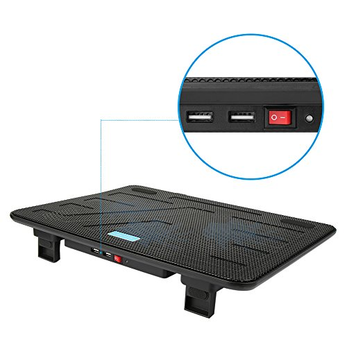 TECKNET Laptop Cooling Pad, Portable Slim Quiet USB Powered Laptop Notebook Cooler Cooling Pad Stand Chill Mat with 3 Blue LED Fans,Fits 12-17 Inch by TECKNET (Image #5)