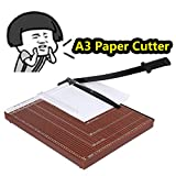 Professional A3 Office Home Guillotine Paper Cutter Paper Trimmer Machine Heavy Duty Metal Base 12 Sheet Capacity [US STOCK] (A3-Red(48.5x38.5cm))