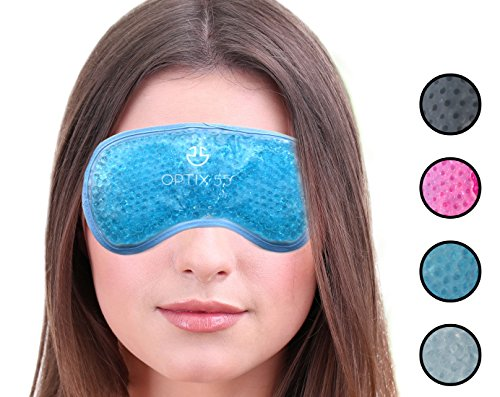 Gel Mask Eye Blue (Hot or Cold Medical Eye Mask - Reusable Compress For Puffy, Swollen, Dry or Itchy Eyes and Migraines - Microwave or Freeze - Blue - by Optix 55)
