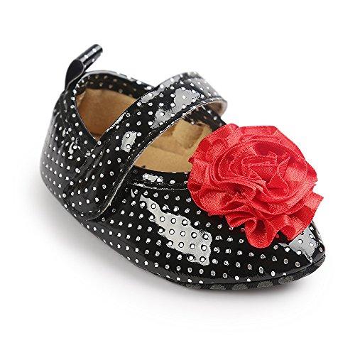 Estamico bebé niñas 'soporte de grandes flor punta Toe primera–Zapatos de Senderismo de piel sintética Mary Jane blanco blanco Talla:0-6 meses negro