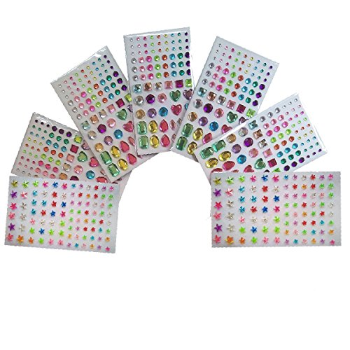 Rhinestone Sticker Sheets for Crystal Nails Art Designs Supplies and Face Rhinestones Gem Self Adhesive Bling DIY Craft Jewels - To Face Shape According Frames