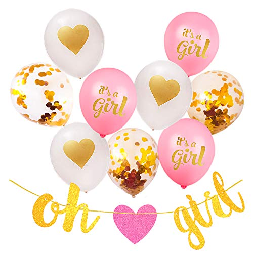 Baby Girl Shower Decorations, 13 Piece Set Includes Oh Girl Banner, Pink It's a Girl Balloons, Confetti Balloons, Gold Heart Balloons and Baby Shower Planner for Memorable - Girl Sprinkle