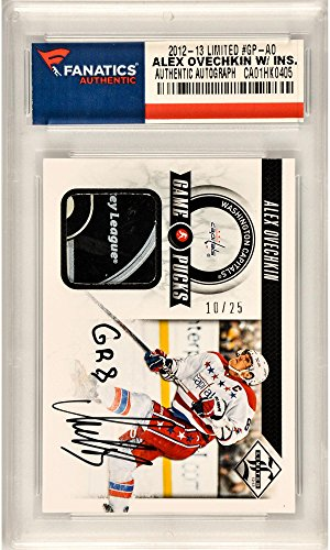Alexander Ovechkin Washington Capitals Autographed 2012-13 Panini Limited #GP-AO Card with GR8 Inscription and Containing a Piece of Game Used Puck - Fanatics Authentic Certified