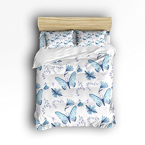 Libaoge 4 piece bed sheets set blue flowers butterflies floral libaoge 4 piece bed sheets set blue flowers butterflies floral print pattern 1 flat gumiabroncs Image collections