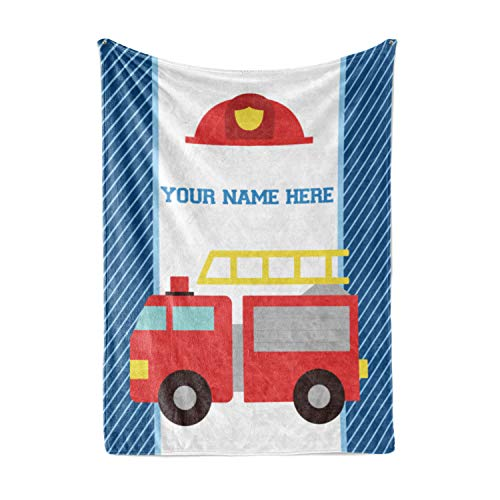 (Personalized Custom Firetruck Fleece and Sherpa Throw Blanket for Boys, Girls, Kids, Baby - Toddler Fire Truck Blankets Perfect for Bedtime, Bedding, Crib Liner or as Gift (30