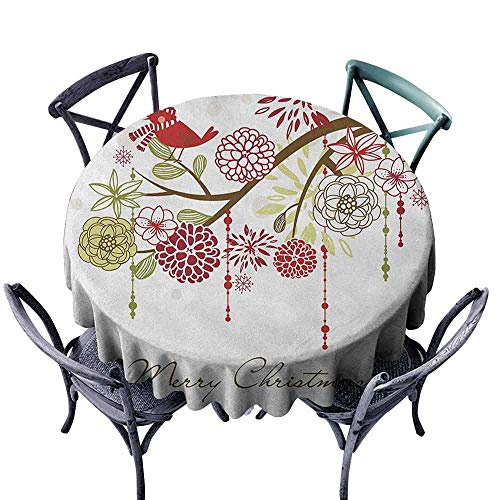 ScottDecor Decorative Round Tablecloth Jacquard Tablecloth Christmas,Sacred Floral Winter Red Bird Hat and Scarf on Blooming Tree Nature Inspired, Green White Diameter 54