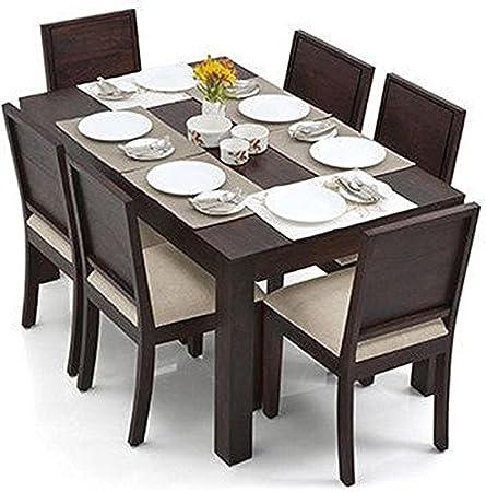 Urban Ladder Arabia - Oribi Six Seater Sheesham Wood Dining Table Set (Mahogany Finish, Wheat Brown)