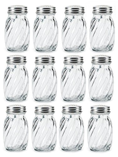 Anchor Hocking Swirl Glass Salt and Pepper Shaker with Lid, 3¼ oz. (Set of 12) (Salt Pepper People Shakers)