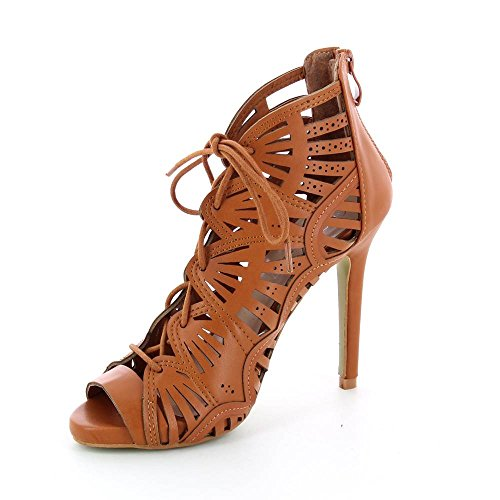 Go Moda - Sandalias de Tacón agujeros de corte con encaje - tacón 11 cm - Mujer Marrón - marrón
