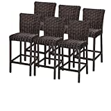 TK Classics TKC Venice Outdoor Wicker Bar Stools in Chestnut Brown (Set of 6) For Sale