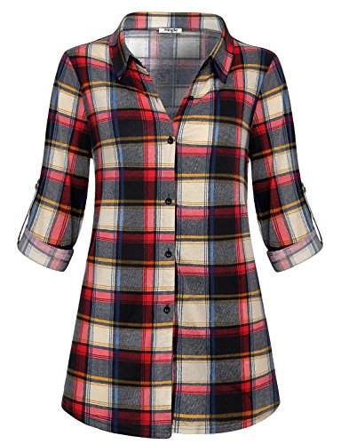 (Hibelle Red Plaid Blouse Women Gingham Shirt Roll Up Sleeve Casual Loose Vintage Lightweight Warm Turn-Down Collar Regular Fit Tunic Checked Button Close Knitted Tartan Tops Red Large)