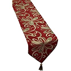 "Violet Linen Chenille Chateau Vintage Floral Design Table Runner, 13"" X 70"", Burgundy"
