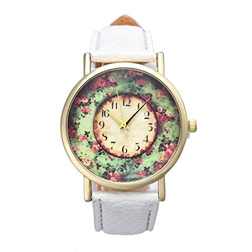 Analog Floral Dial (Creazy® Pastorale Floral Women Leather Band Analog Quartz Dial Wrist Watch (B))