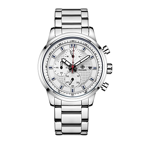 SIHAIXIN Watches Mens Steel Band Quartz Analog Men Wrist Watch with Chronograph Waterproof Date Luxury Men's Sports Watch Gift Box (Silver white) (Silver Mens Chronograph)