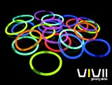 Glowsticks, Vivii 100 Light up Toys Glow Stick Bracelets Mixed Colors Party Favors Supplies (Tube of 100)