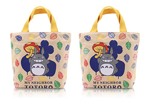 Finex - Set of 2 - My Neigbor TOTORO Canvas Zippered Tote with Top Carry Handles - Lunch Box Bag Gym Tote