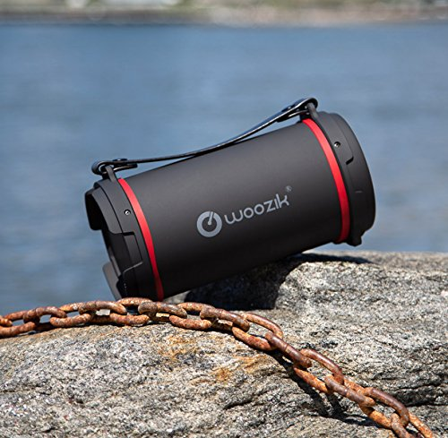 Woozik S22B Wireless Speaker, Outdoor/Indoor Boombox with FM Radio,  Built-in Powerbank, SD Card Slot, Aux 3 5mm, USB Support and Carrying Strap