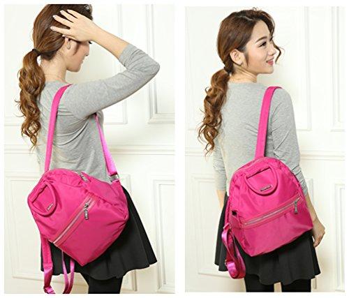 AOTIAN 4008# - Bolso mochila  para mujer Rosa D-ROSE A-BLACK