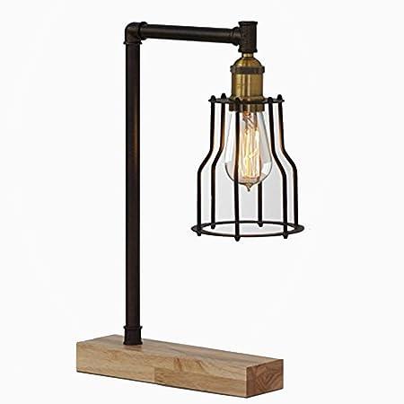 LOFAMI Vintage industrial lámpara de mesa, negro jaula de hierro ...