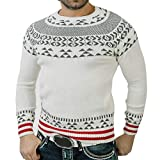 Realdo Clearance Sale Mens Sweater,Autumn Winter Warm Pullover Print Knitted O-Neck Blouse Top(XX-Large,White)