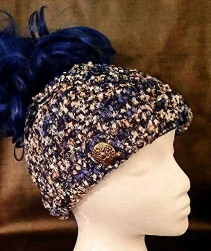 Blue speckled knit messy bun beanie