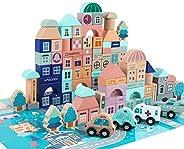 GEMEM Wooden Blocks-133 Pc for Kids Preschool Ages-Classic Shapes Colorful Wood Block Set Colored Castle Build