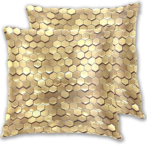 for Bed Gold Honeycomb Golden Hexagon Abstract Geometric Texture Style Double Sided Cotton Velvet Square Pillow Slipcovers 20x20 Inch Decorative Pillows for Bedroom,Set of 2 ()