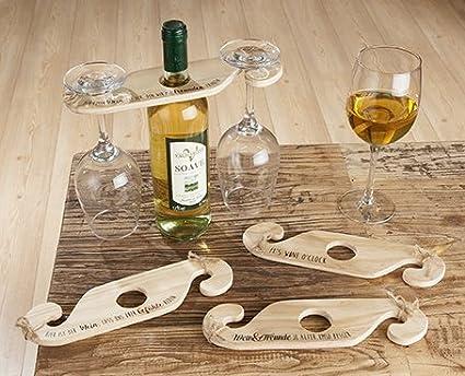 Gilde – Soporte para Botellas de Vino, Cristal Plana; Madera Natural; para 1