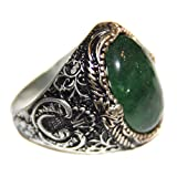 Unisex sterling silver ring, natural emerald stone, handmade, Express Shipping