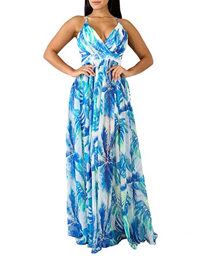 Remelon Womens Sexy Spaghetti Strap Deep V Neck Floral Boho Criss Cross Backless Chiffon Beach Party Long Maxi Dress Light Blue L
