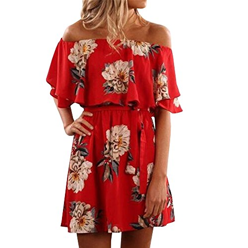 GAMISOTE Womens Floral Shoulder Ruffle product image