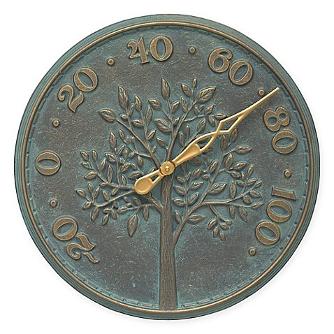Whitehall Products Tree of Life Outdoor Thermometer in Bronze Verdigris by Whitehall