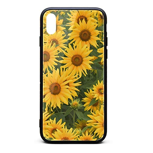 Cute Phone Case for iPhone X Sunflower Clipart Rubber Frame Tempered Glass Covers Personality Shock-Absorption Skid-Proof Never Fade Mobile Cases Good