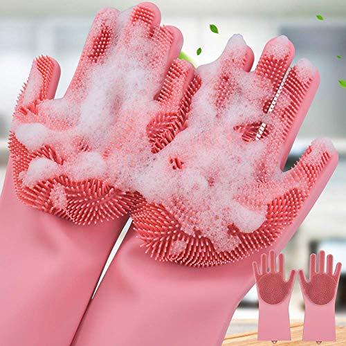 QOAL Magic Silicone Scrubbing DishWashing Gloves, Silicon Cleaning Gloves, Reusable Silicon Hand Gloves for Kitchen…