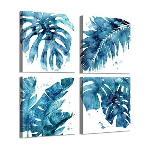 Palm Canvas Prints Wall Art: Aqua Botanical Leaf Artwork Painting Print on Wrapped Canvas for Bathroom (16'' x 16'' x 4 Panels)