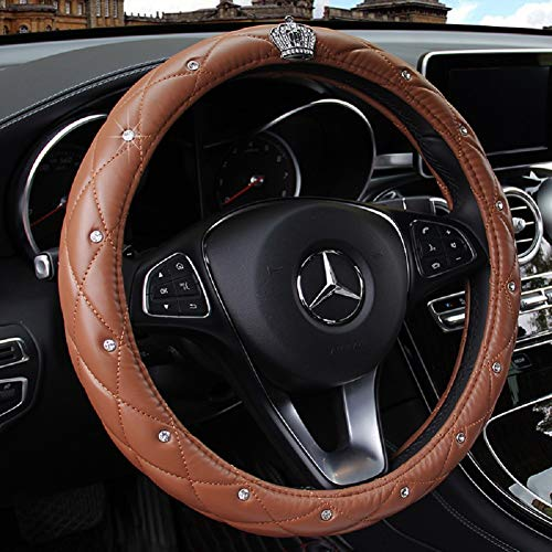 SAN QING Crystal Crown Diamond Steering Wheel Set is Comfortable and Durable 15 inches (38cm),Brown