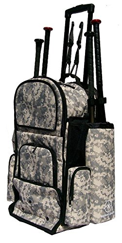 New Design Vista CTR in Digital Camouflage Softball Baseball Bat Equipment Roller Backpack with Innovative Removable Bat Sleeves, Embroidery Patch and Pull out Handle by MAXOPS