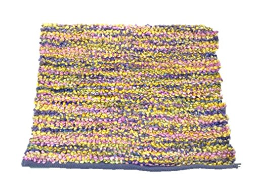 Cotton Throw Rug Colorful Large Loop Throw Mat 23 by (Hooked Rag Rugs)